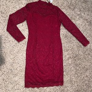 Dresses & Skirts - Red lace long sleeve dress